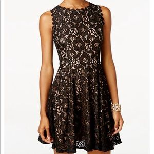 Black Lace Party Dress with Nude Lining